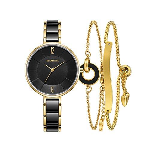 MAMONA Damen Uhr Analog Quarz mit Edelstahl Armband Rosa/Gold Schwarz Keramik Uhrenset 3887LBKT (Anpassbare Uhren-box)