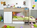 Etagenbett Jugendbett Stian 90x200 cm Eiche weiß Kinderbett Hochbett Kinderzimmer Bett Kleiderschrank