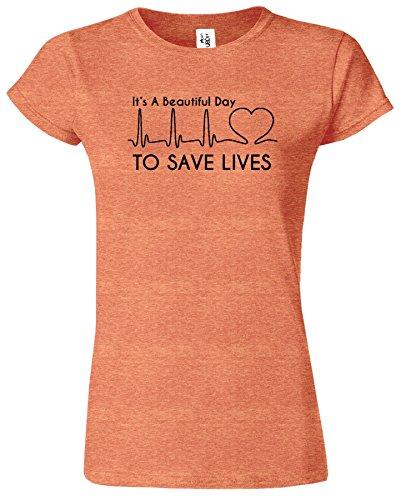 Its A Beautiful Day pour sauver le T-shirt de dames d'an Bruyère Orange / Noir Design