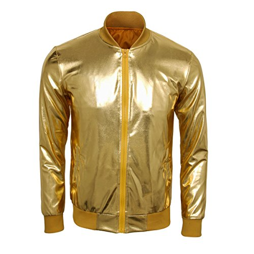 Kostüm Dance Flash - Cusfull Baseball Jacke Metallic Glänzend Nightclub Party Tanzen Casual Kostüm Mit Reißverschluss Up Fashion Bomber Jacke(S Gold)
