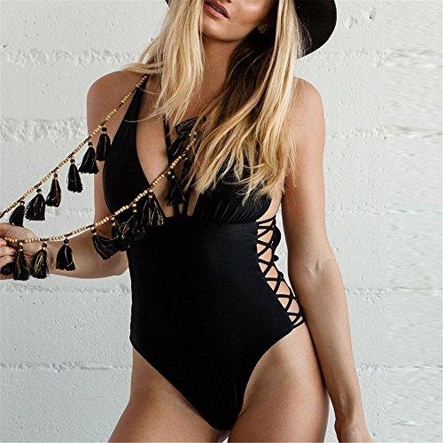 Italily -Donna Solido Costumi da Bagno Un Pezzo Bikini Costumi Backless Sweet Sexy design Swimwear donne ragazza senza schienale Push-up Swimsuit Black
