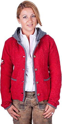 Almwerk Damen Strick Jacke Antonia mit abnehmbarer Kapuze in verschiedenen Farben, Größe Damen:XL - Größe 42;Farbe:Rot/Grau