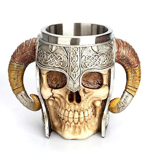 GLQ Edelstahl Doppelgriff Horn Schädel Bier Tasse, Viking Warrior Skull Mug Krug, mittelalterliche Schädel Drinkware Becher für Kaffee/Getränke/Saft 17oz.