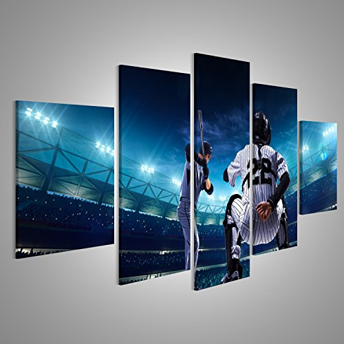 Bild Bilder auf Leinwand Professionelle Baseball Spieler in der großen Arena in der Nacht Wandbild Leinwandbild Poster XXL Format (Baseball Leinwand)