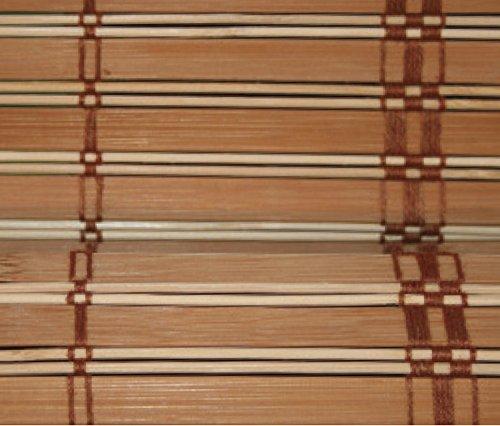 Estor de listones de madera de bambú (20mm aprox.), bobina de polea con montaje en madera, ganchos de anclaje de metal