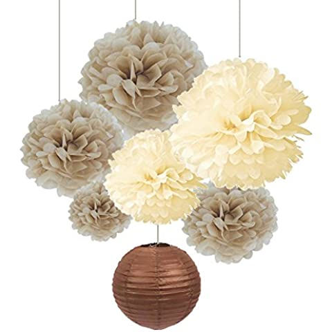 SUNBEAUTY Paquete de 7 piezas pom pom flores y faroles de papel Decoración para Casa Fiesta Boda Cumpleaños San Vlentines