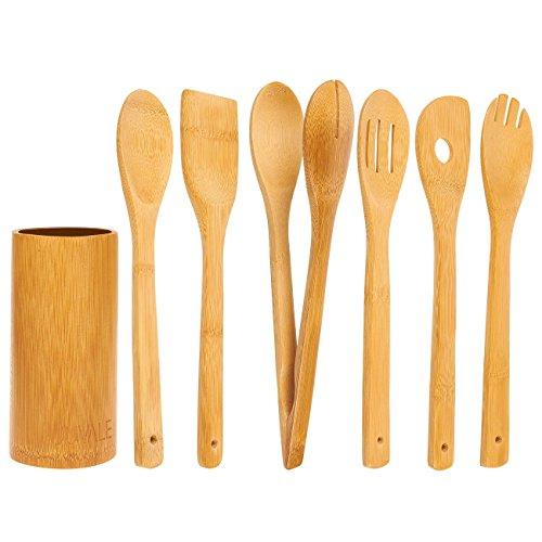 Juvale Lot de 7pièces en bambou Ustensiles de cuisson-Cuisine composé de solide Turner, cuillère, Écumoire, pince, spatule avec trou, et Porte-ustensiles, Marron