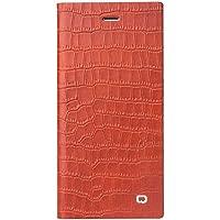 iPhone 6/plus supporto pieghevole Custodia, super slim custodia in vera pelle per cellulare con cavalletto integrato, carta e magnetica della copertura, Pelle, Orange, 4.7
