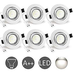 Spot LED Encastrable Blanc 6W Wowatt 6 Spots Encastrables GU10 Blanc Froid 6000K Equivaut 50W Ampoule Halogène Plafonnier Encastré Intérieur 220V 600lm Orientable 40° Rond Métal Nickel Non Dimmable