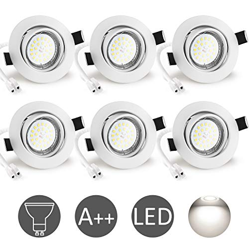 Foco Empotrable GU10 Blanco, Wowatt 6x Luz de Techo Interior GU10 LED...