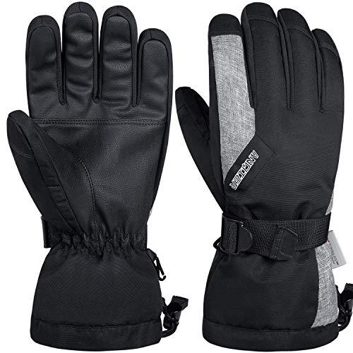 anqier Winterhandschuhe Herren Damen Wasserdicht Fahrradhandschuhe Männer Winter Warm Handschuhe Thermische Skihandschuhe Uniesex Outdoor Gloves für Laufen Skifahren Radfahren Motorrad