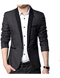 Menjestic Men's Slim Fit Designer Blazer With Grey Lapel Available In Black And Grey /2 Colors