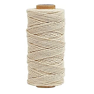 Tenn Well Bakers Twine, 3Ply 100m Kitchen Cotton Twine Food Safe Cooking String Perfect for Trussing and Tying Poultry Meat Making Sausage DIY Crafts and Decoration (Beige)