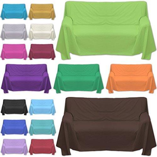 Qool24 Sofaüberwurf große Farb und Größenauswahl dicht gewebter Baumwollstoff Überwurf Pink 70x140cm