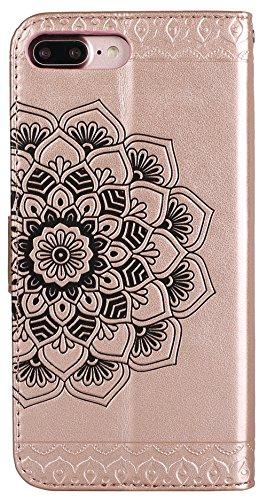 """Iphone 7 Plus Coque silicone, Iphone 7 Plus Accessories, Coque Iphone 7 Plus silicone, Nnopbeclik® Mode Fine Folio Wallet/Portefeuille en Bonne Qualité PU Cuir Housse (5.5 Pouce) """"Datura"""" fleur de Gau champagneor"""