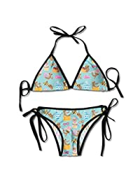 7867cdfb2102 Fashion Sexy Womens Kawaii Cute Face Sloth Pattern Printing Bikini Set  Adjustable Beachwear Swimsuit
