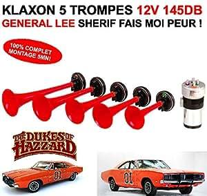 EXCLUSIVITE! ENORME KLAXON GENERAL LEE 12V 145DB SHERIF FAIS MOI PEUR ! 5 TROMPES 12V 100% COMPLET MONTAGE 5MN!
