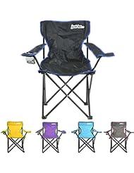 just be...® Silla de acampada plegable - Negra con bordes Azules