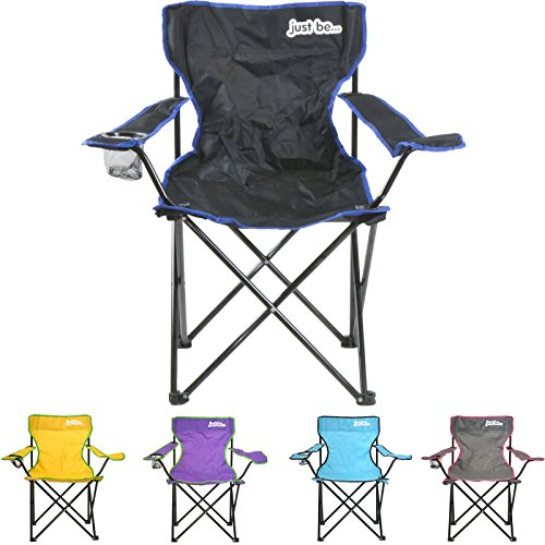 just be...® Silla de Acampada Plegable - Negra con Bordes Azules