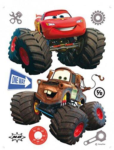1art1 75263 Cars - Toon, Monster Truck Hook Und Lightning McQueen Wand-Tattoo Aufkleber Poster-Sticker 85 x 65 cm (Disney Cars Monster Truck)