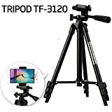 DSLR Camera Tripod - 3120 For Camera + Mobile Clip Holder] Fully Flexible Mount Cum Tripod , 3-section Lever-lock Legs For Easy Height Adjustments , Light Weight Tripods With Black Carry Travel Bag Latest 2018 Upgraded , Compatible With Most Video Cameras