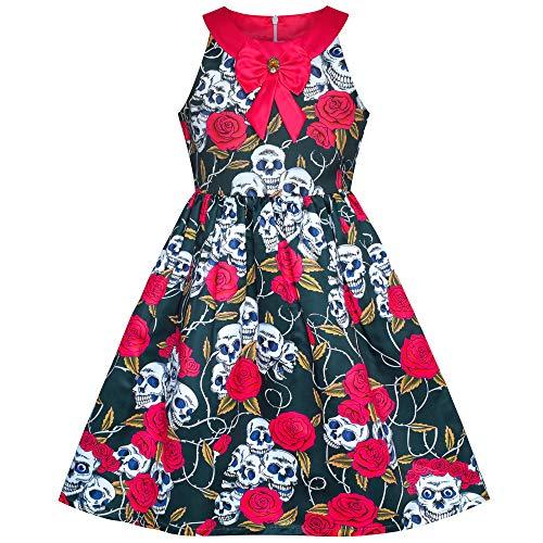 Sunboree Mädchen Kleid Halloween Schädel Rose Blut Kostüm Halfter Kleiden Gr. 146