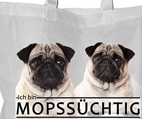 MOPS beige süchtig - Einkaufsbeutel Tasche Beutel EINKAUFSTASCHE - MOP 01