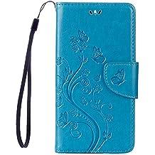 BQ Aquaris X5 Funda Libro 5.0 Pulgadas ,Buerno Carcasa para BQ Aquaris X5 Azul Suave PU Cuero Cuero impresión Con Flip case cover , Cierre Magnético,Función de Soporte , Billetera con Tapa para Tarjetas