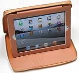 Zipped Leather Case for iPad w/Stylus Ballpoint Pen (Orange)