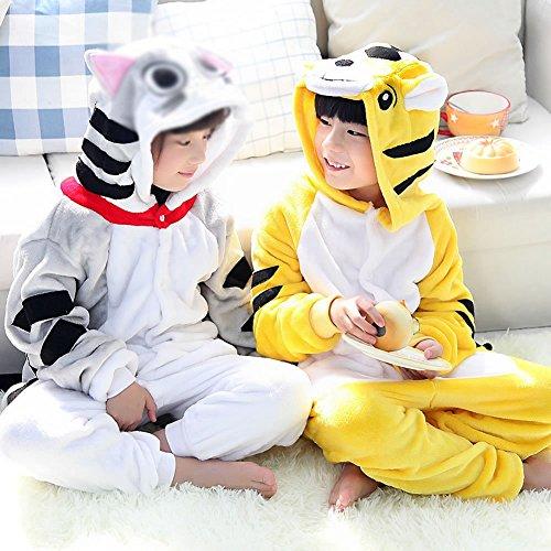 CWJ Pyjamas-Kids Cartoon Flanell Tier Neuheit Kostüme Cosplay Pyjamas Rollenspiel Halloween Play Kleidung,Katze,M (Katze Pyjamas Kostüm)