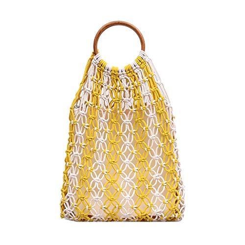 Ladies Travel Weekender Umhängetasche Mode Damenmode Retro Gewebte Umhängetasche Einfarbige Handtasche Gewebte Tasche Strandtasche