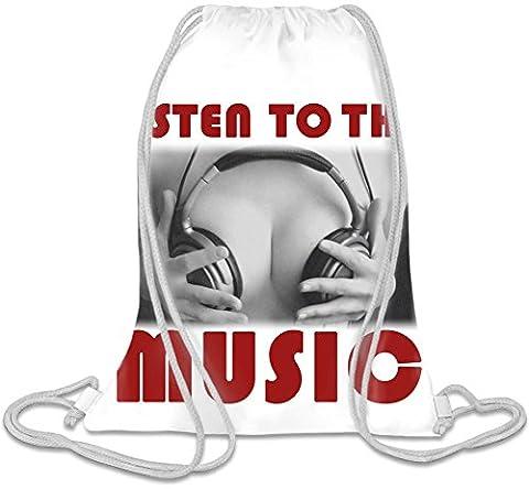 Listen To The Music Boobs Headphones Kordelzug Beutel