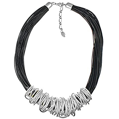Stunning silver chunky spiral wrap wire black leather cord fashion jewellery necklace