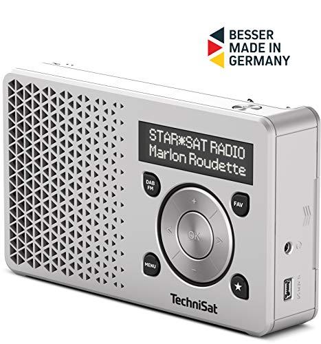 TechniSat Digitradio 1 tragbares DAB Radio mit Akku (DAB+, UKW, FM, Lautsprecher, Kopfhörer-Anschluss, Favoritenspeicher, OLED-Display, klein, 1 Watt RMS) silber