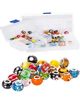 RKC Bettelarmband-Glasperlen, Menge von 5 bis 100 Stück wählbar, mit Silberkern, mehrfarbig, für europäische Bettelarmbänder...