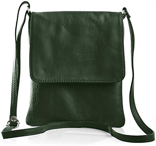 BHBS Kleine Damen Cross-Body-Tasche Mit Echtem Weichem Leder 18 x 23 cm (B x H) - Pine Green (Echtes Schuhe Leder Italienische)