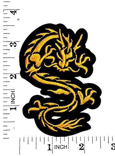 Amarillo chino Dragón japonés Animal de la suerte, diseño de parche para moto y para planchar parche bordado a mano coser símbolo chaqueta camiseta parches apliques accesorios