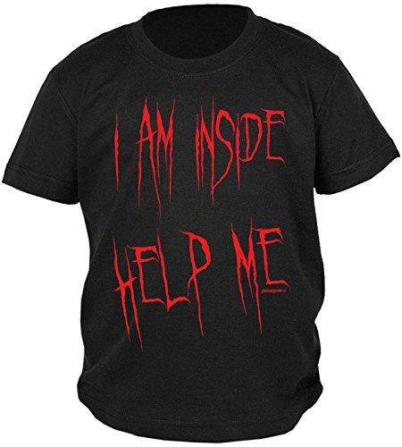 Jungs Lustige Kostüme (Kinder Halloween T-Shirt - Kindershirt Halloweenparty : I am inside help me -- Kinder Tshirt Sprücheshirt Blut Gr:)
