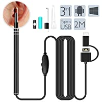 USB Otoscope, HEYSTOP Ear Clean Endoscopio Inalámbrico Digital Oreja Limpieza Cámara de inspección de otoscopio Impermeable Portable HD Borescope con Earpick para Android Smartphones Windows Mac