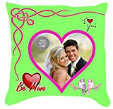 Pyramidmart Personalized Digitally Photo Printed Pillow - Fluorescent Green - 15 x 15 inches - Print Your 3 Pictures on BOTH Sides - Ideal Valentine Gift, Romantic Gift, Birthday Gift, Anniversary Gift, Personalized Gift for Wife / Girlfriend / Boyfriend / Husband / Brother / Sister / Friend / Soulmate