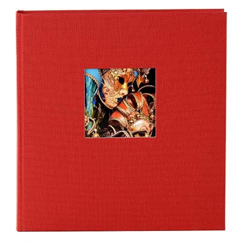 Goldbuch Fotoalbum mit Fensterausschnitt, Bella Vista, 25 x 25 cm, 60 weiße Seiten mit Pergamin-Trennblättern, Leinen, Rot, 24890
