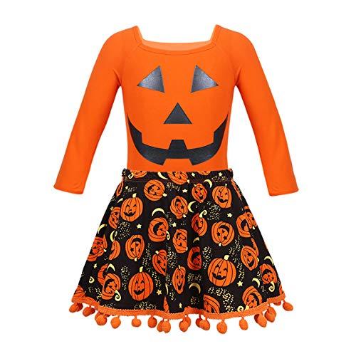 (Freebily Baby Mädchen Outfit mit Kürbismuster Halloween Kostüm Verkleidung Kinder Karneval Shirt + Rock + Stirnband Set Orange 80-86/12-18 Monate)