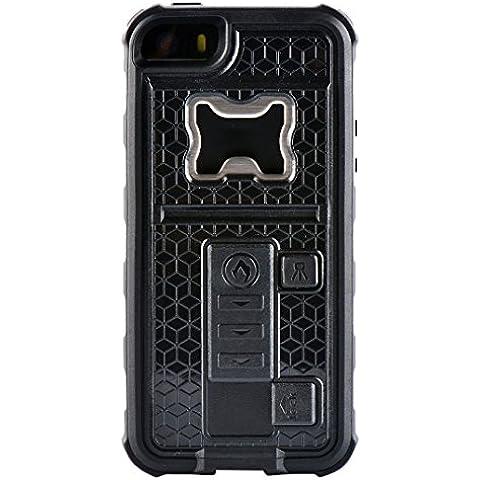 ZVE multifunzione con accendisigari & Bottle Opener birra Cover per IPhone 5/5S, Silicone, nero, Iphone 5 5s