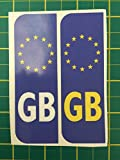 2 x Euro GB Badge Car Number Plate Self-adhesive Vinyl Stickers European stickers