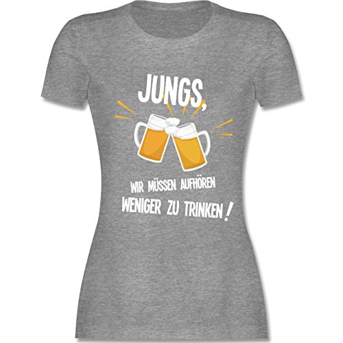 Shirtracer Statement Shirts - Jungs, Wir Müssen Aufhören Weniger zu Trinken - Damen T-Shirt Rundhals Grau Meliert