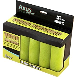 Axus Décor Wood Finishing Mini Roller Sleeve - Lime (Pack of 10)