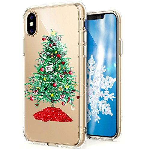 PHEZEN iPhone X Fall, iPhone X Cover Weihnachten, iPhone X Crystal Clear TPU Fall, Ultra Slim Soft Silikon Gel Haut Handytasche Cover für iPhone X Green Christmas Tree Iphone-gel-fall