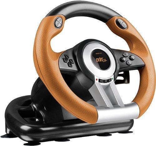 SPEEDLINK Drift O.Z. Lenkrad für Playstation 3/PS3 (Schaltwippen, Schaltknauf, Gas- und Bremspedale, XInput und DirectInput, Vibrationsfunktion) Schwarz-Orange (Zertifiziert und Generalüberholt)