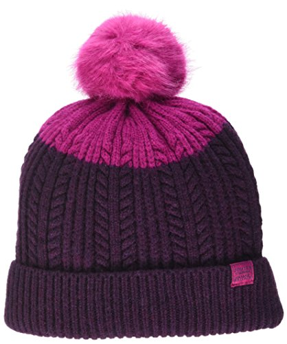 Joules Womens/Ladies Fine Cable Knit Roll Back Pom Bobble Hat Beanie (Beanie Cable Knit Womens)
