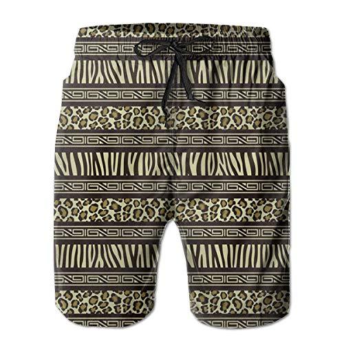 wwoman Herren Leopard Zebra-Print Lässige Quick Dry Strand Shorts Taschen Badehose Kurze Hose XL